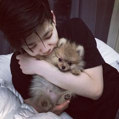 Any idol with any animal makes me melt! Zelo is all around adorable (: #Zelo IG