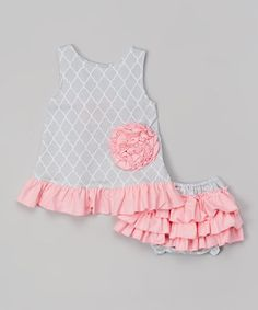 Loving this Gray Quatrefoil Swing Top & Diaper Cover - Infant on #zulily! #zulilyfinds