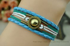 Bronze Transit beads Bracelet green Leather rope Blue by Evanworld, $3.50 Retro personalized homemade bracelet, the best gift of friendship.