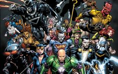 """Forever Evil (Group Shot of most DC Super Villains) also the cover to Issue #1 of DC Comics Title """"FOREVER EVIL"""" 2013 --Art by Dan Seitz"""