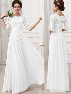 Elegant Pure Color Half Sleeve Chiffon Round Collar Tie Waist Maxi Dress