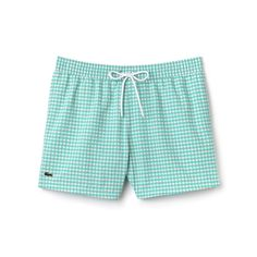 These graphic Lacoste swim trunks are crafted in taffeta with handsome gingham checks. An up-to-the-minute look for all nautical activities.