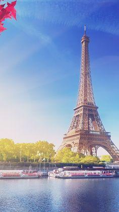 SKY BLUE EIFFEL TOWER NATURE PARIS CITY FLARE WALLPAPER HD IPHONE