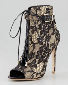 B Brian Atwood  LindaFord2 Floral Lace Peep-Toe Bootie, Nude/Black