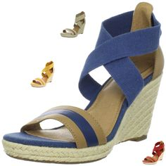 Fossil Women's Abagale Wedge Sandal.  Blue Leather Shown here at $84.55.  Various colors available at different price points. ~ The Stilush Team