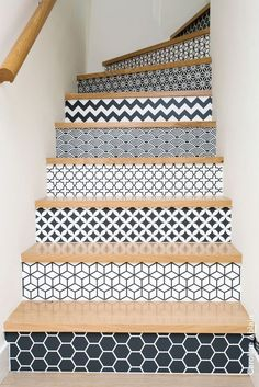 wallpapered and tiled staircase design and decor ideas - Most staircases are ove. - Home Design Tiled Staircase, Staircase Design, Staircase Ideas, Decorating Staircase, Staircase Makeover, Wallpaper Staircase, Loft Staircase, Tile Stairs, Staircase Remodel