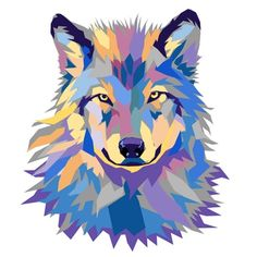 Vector artwork by Joshua Pomeroy. Colorful Animal Paintings, Colorful Animals, Jesus Christ Painting, Fantasy Wolf, Arte Pop, Dog Paintings, Spirit Animal, Cute Wallpapers, Pop Art