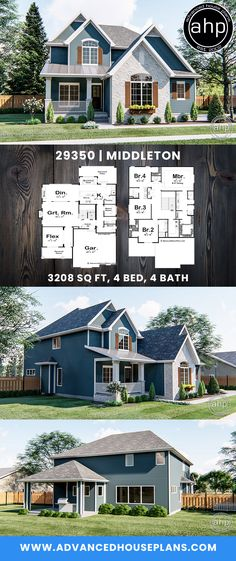 Wohnen Four Bedroom Traditional Home architecture Architectural Design house plans Bedroom Home Traditional wohnen Porch House Plans, House Plans One Story, Craftsman House Plans, Modern House Plans, House Floor Plans, Plans Architecture, Modern Architecture House, Japanese Architecture, Bungalows