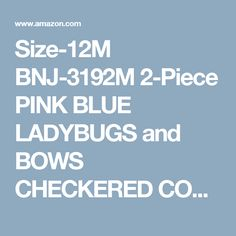 Size-12M BNJ-3192M 2-Piece PINK BLUE LADYBUGS and BOWS CHECKERED COLOR BLOCK SEERSUCKER Spring Summer Party Dress,M13192 Bonnie Jean BABY/INFANT