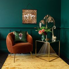 We hand select the very best unusual home accessories, to curate a really unique selection for those with a penchant for quirky interiors. Art Deco Living Room, My Living Room, Make Green, Living Room Orange, Orange Rooms, Deco Luminaire, Leaf Table, Colorful Furniture, Unique Furniture