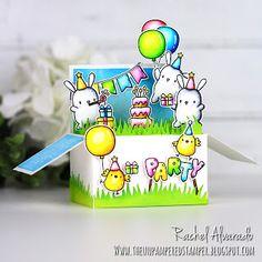 The Unpampered Stamper: Party Animals Birthday Box Card - Mama Elephant Birthday Box, Animal Birthday, Handmade Birthday Cards, Greeting Cards Handmade, Tarjetas Pop Up, Mama Elephant Stamps, Elephant Party, Pop Up Box Cards, Lawn Fawn Stamps