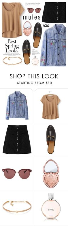 Yoins - Slim 'Em On: Mules by dora04 on Polyvore featuring Gucci, Kenneth Jay Lane, Oliver Peoples, Too Faced Cosmetics, Chanel, H&M, yoins, yoinscollection and loveyoins