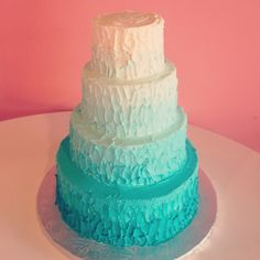 Turquoise Ombre Wedding Cake by 2tarts Bakery  New Braunfels, TX  www.2tarts.com