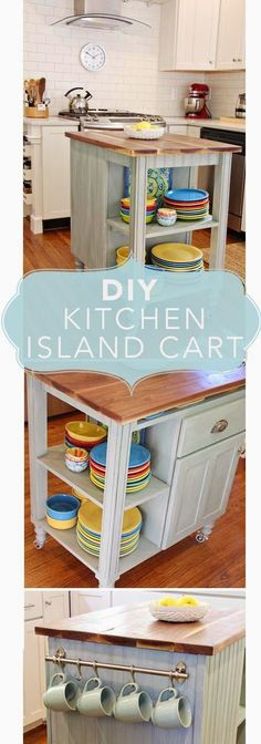 How to build a Kitchen Island Cart; plans for building a kitchen island on wheels; island with recycled cabinet; DIY Kitchen Island Cart
