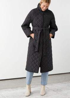 & Other Stories Belted Quilted Coat Wardrobe Fails, Tailored Coat, Belted Coat, Models, Overall, Fashion Story, High Collar, Winter Fashion, Black Jackets