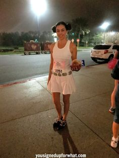 Princess Leia DIY running costume. Disney Star Wars run idea. White skirt, white tank top, a DIY silver belt, and hair up into 2 braided buns.