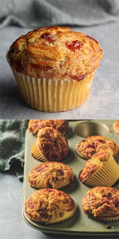 Peanut Butter & Jam Muffins – Deliciously moist and fluffy peanut butter muffins that are loaded with flavour, and filled and swirled with strawberry jam! Strawberry Jam Muffins Recipe, Simple Muffin Recipe, Strawberry Recipes, Strawberry Butter, Quick Dessert Recipes, Cupcake Recipes, Cookie Recipes, Delicious Desserts, Dessert