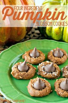 Four ingredients are all you need to make these Pumpkin Blossom Cookies! Grab a spice cake mix, can of pumpkin, Hershey's Kisses, and decorating sugar and let's get started! Thanksgiving Cookies, Fall Cookies, Cake Mix Cookies, Pumpkin Cookies, Pumpkin Dessert, Pumpkin Spice, Kiss Cookies, Christmas Cookies, Pumpkin Recipes