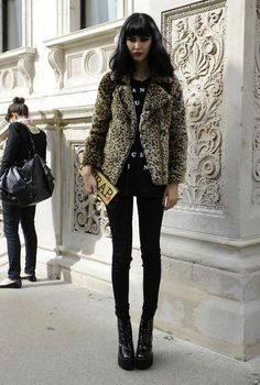 Black look with a leopard touch, LFW