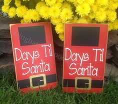 What a fun way to countdown the days til Christmas. Recommend using a chalk marker on the chalkboard vinyl...easily wipes off with damp paper towel. Signed, sealed, just waiting for delivery! Product: Wood Sign Saying: Days til Santa Approx. Size: 9.5L x 5.5w Colors: Red sign with painted white words Black chalkboard vinyl Black/gold painted belt Details: Painted Board Vinyl Letters Wood is distressed & stained Only face of board is painted Sawtooth hanger included but not attached ...