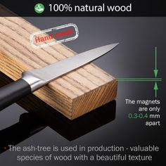 One magnetic bar contains 23 strong neodymium magnets so that the knives stay where they belong and won't fall. The powerful heavy-duty magnets will instantly hold the knife securely in place.  Made of natural wood this knife holder blends with any design and surface. Magnetic Knife Holder, Magnetic Knife Strip, Knife Storage, Kitchen Knives, Bar Kitchen, Wood Knife, Specialty Knives, Neodymium Magnets, Beautiful Textures