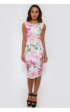 White floral open back bodycon midi dress | USTrendy