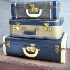 Vintage Suitcase Trio / Blue and White / Leather by rustfarm