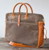 No. 735 Zippered Briefcase in Dark Khaki Waxed Canvas & Horween Leather