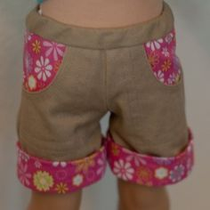 Tutorial: Cuffed Shorts. Modified Heritage Doll Fashions Cropped Cargo Pants for AG Dolls pattern #americangirl #doll #tutorial #sewing