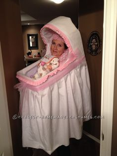 Best Homemade Baby B Best Homemade Baby Bassinet Illusion Costume! Fairy Halloween Costumes, Homemade Halloween Costumes, Halloween Costume Contest, Halloween Kids, Funny Halloween, Costume Homemade, Happy Halloween, Adult Baby Costume, Baby Costumes