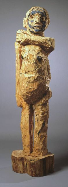Georg Baselitz, Untitled, 1982-83  From the Tate Collection:    This imposing but abject figure was carved from the trunk of a lime tree using a chisel and chainsaw. The surface of the sculpture bears the gouged and hacked traces of the artist's physical battle with the wood. The use of carving has many antecedents in German history, from the woodcuts of Albrecht Dürer in the sixteenth century, to the deliberately exaggerated and distorted Expressionist works of the early twentieth century.