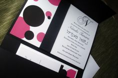 Bat Mitzvah Invitation - The pocket fold Bat mitzvah or Wedding Invitation, (shown in pink and black) is classic and classy. This invitation, like all of our invitations, can be customized to fit your unique color palette. folded or flat thank you cards, dinner menus, favor tags, and save the date cards are also available in this style. This design can be incorporated onto all of your wedding stationary if desired.  {Not Ready to Order?} Purchase a Sample https://www.etsy.com/l...