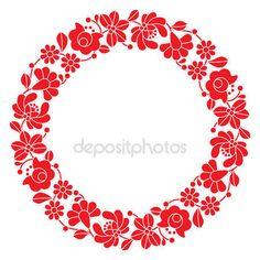 Kör - magyar népi virágmintás piros kalocsai hímzés — Stock Illusztráció #69917861