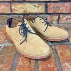 Tommy Hilfiger Women Taxi Suede Oxfords 10 M Leather Tan Lace Up Boyfriend Shoes #TommyHilfiger #Oxfords #Casual