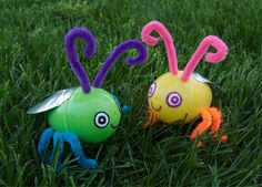 Make fireflies that really light up. What a great way to use up a few of those old Easter Eggs.