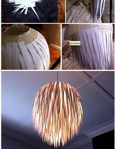 Do-it-yourself hanging lamp. If it really looks that cool, I'm in. Do-it-yourself hanging lamp. If it really looks that cool, I'm in. Homemade Lamp Shades, Homemade Lamps, Homemade Decorations, Paper Lampshade, Lampshades, Diy Luz, Home Crafts, Diy Home Decor, Decorative Lamp Shades