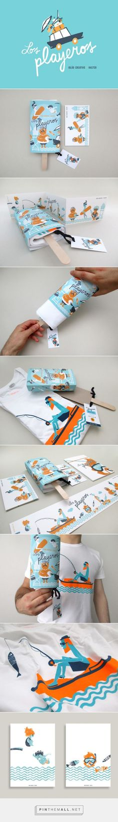 Los Playeros by Iglöo Creativo. A fun and creative stationery suite. Check out the great T-shirt packaging! Shirt Packaging, Cool Packaging, Brand Packaging, Fashion Packaging, Design Packaging, Web Design, Creative Design, Logo Design, Brochure Design