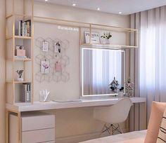 Image may contain: Internal area Teen Bedroom ideas - Jugendzimmer - Bedroom Desk, Small Room Bedroom, Small Rooms, Diy Bedroom, Home Office Design, Home Office Decor, Cute Room Decor, Aesthetic Room Decor, Girl Bedroom Designs