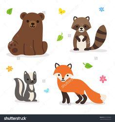 Cute Cartoon Forest Animals: Bear, Fox Raccoon And Skunk. Isolated ...