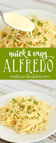 Recipe for quick and easy Alfredo Sauce. This simple alfredo sauce is a perfect last minute dinner recipe. Serve it as is, or add grilled chicken or shrimp! via creationsbykara.com