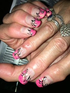 Slanged smile line with pink nails and black vine art gel nails. Pink Nails, Gel Nails, Vines, Smile, Black, Art, Nail Gel, Gel Nail, Black People