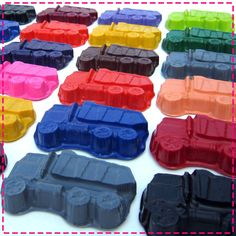 GARBAGE / DUMP TRUCK Crayon Favors - Party Pack of (20) - Red, Yellow, Green, Purple, Orange, Blue, Turquoise, Lime, Brown, Black, Etc.. $30.00, via Etsy.