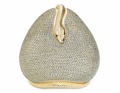 A JUDITH LEIBER SILVER CRYSTAL SNAKE CLUTCH EVENING BAG, late 20th century (=)