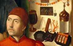 Detail of  A Goldsmith in His Shop, Possibly Saint Eligius (1449) -  by Petrus Christus