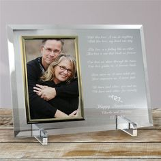 Personalized Love Is Magic Anniversary Beveled Glass Picture Frame Engraved Picture Frames, Glass Picture Frames, Personalized Picture Frames, Personalised Frames, Traditional Anniversary Gifts, Unique Anniversary Gifts, Personalized Anniversary Gifts, Personalized Wedding, Wedding Anniversary Pictures