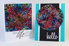 Stained Glass Color Burst Cards - #ClubScrap Ken Oliver Color Burst Pigment Powders Stamping Star UM stamps Retreat 2015 workshop #kenolivercrafts #colorburst