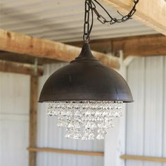 This Metal Chandelier With Glass Crystals will be the focal point in any room. See this light fixture and more at Antique Farmhouse! Rustic Chandelier, Drum Chandelier, Vintage Chandelier, Pendant Lamp, Pendant Lighting, Crystal Pendant, Chandelier Creative, Chandelier Crystals, Farmhouse Chandelier