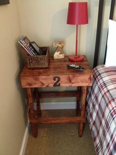 Pallet nightstand stained & clear finish.
