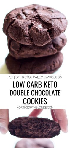 Low-Carb Double Chocolate Cookies are low calorie and low fat delicious chocolatey goodness without the guilt! Dessert | Snack | Gluten-Free | Paleo | Whole 30 | Keto | Sugar Free | Dairy Free | Healthy | Chocolate | Weight Loss | Cookies |