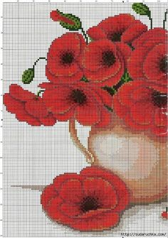 croche: beautiful flowers - embroidered with a cross